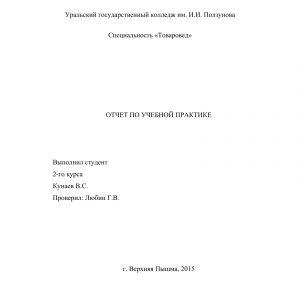 Титульный лист отчета по изучению розничного торгового предприятия