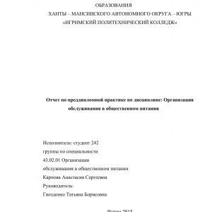 Титульный лист отчета по преддипломной практике общественного питания