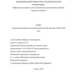 Титульный лист отчета по производственной практике по учету финансовых результатов