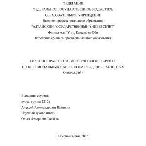 Титульный лист отчета по учебной практике по ведению расчетных операций