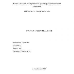 Титульный лист отчета по внешнеэкономической деятельности предприятия