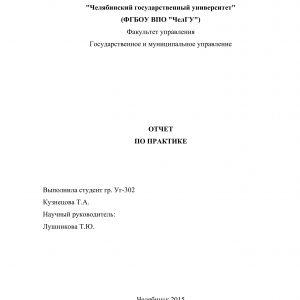 Титульный лист отчета по практике в администрации городского поселения