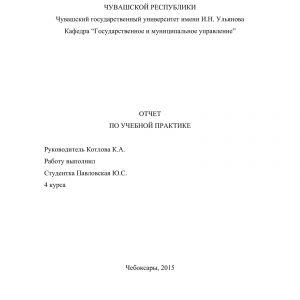 Титульный лист отчета в министерстве экономического развития